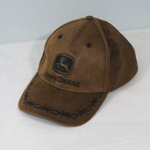 John Deere Barbwire Velcro Adjustable Hat